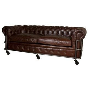 CAGED 4 SEATER CHESTERFIELD VINTAGE CIGAR BROWN - Luxe Living