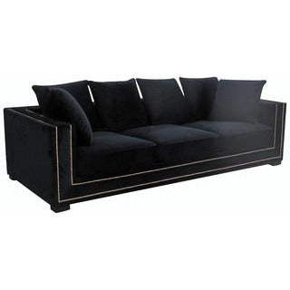 DELADUO 3.5 SOFA BLACK VELVET/GOLD STUDDING - Luxe Living