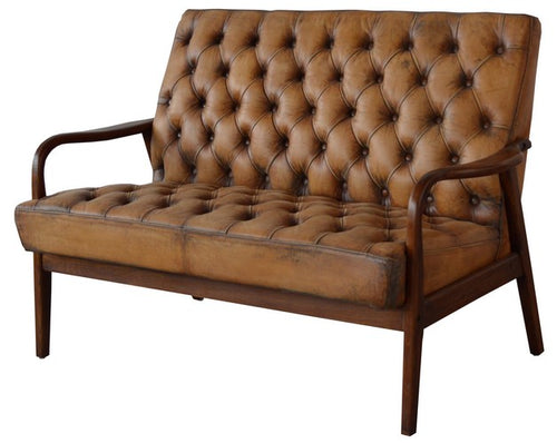 MONTPELLIER SETTEE - ANTIQUE LIGHT BROWN LEATHER