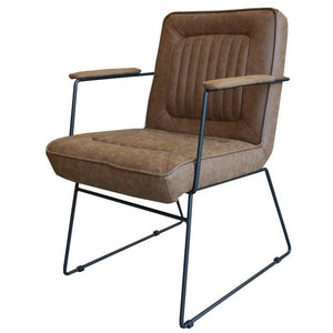 DATSUN OCCASIONAL CHAIR - TAN FABRIC / METAL - Luxe Living