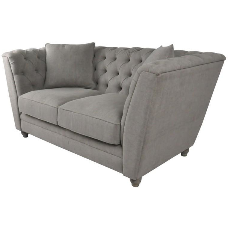 OAKWOOD BUTTONED 2 SEAT SOFA W / CUSHIONS - GREY LINEN - Luxe Living