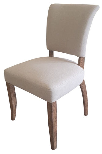 DERRINGER LINEN DINING CHAIR W/OAK LEGS & BRASS STUDS
