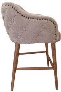 CHARLESTON BUTTONED BACK BARSTOOL - OAK LEGS