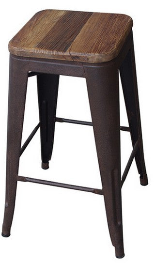 TALL INDUSTRIAL STOOL WITH ELM TOP
