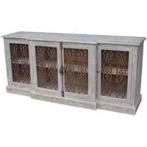 4 DOOR BUFFET W/ METAL FILIGREE OLD PINE/GREY WASH - Luxe Living