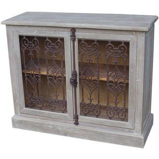 2 DOOR BUFFET W/ METAL FILIGREE OLD PINE/GREY WASH - Luxe Living