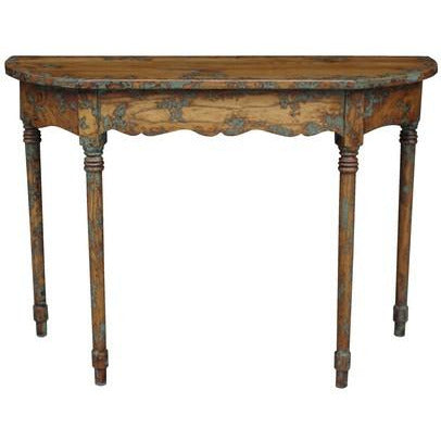 LOUIS ENTRANCE TABLE SOLID OAK WITH VERDIGRIS - Luxe Living