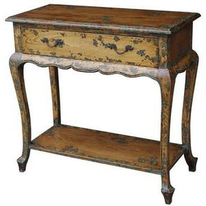 LOUIS HALL TABLE SOLID OAK WITH VERDIGRIS - Luxe Living