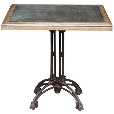 SQUARE CAFE TABLE WITH ZINC TOP - Luxe Living