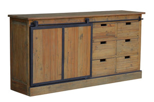 BUFFET W / SLIDING DOOR - OLD PINE / IRON