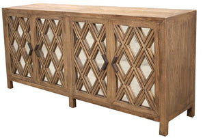 4 DOOR SIDEBOARD, MIRRORED DOORS - RECLAIMED ELM