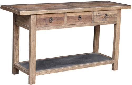 RECLAIMED ELM CONSOLE W/ METAL SHELF