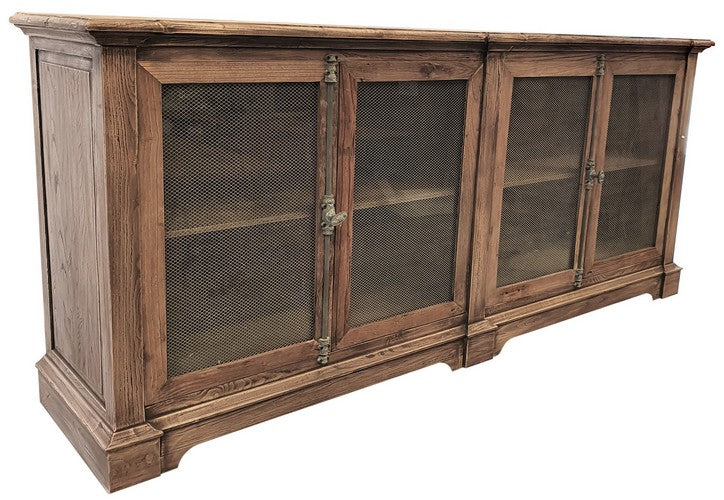 RECLAIMED ELM SIDEBOARD W/ CHICKENWIRE/GLASS DOORS