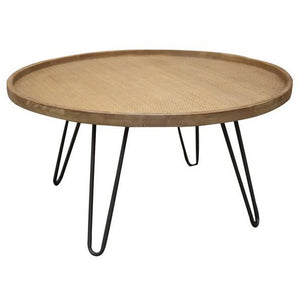 COFFEE TABLE WITH RATTAN TOP - Luxe Living