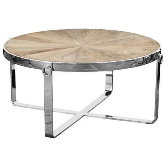 BRIGHTON COFFEE TABLE RECYCLED ELM & STAINLESS STEEL - Luxe Living