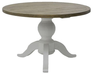 Solid Round Dining Table - White & Brown