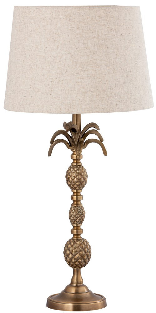 TABLE LAMP & SHADE - BRASS ANTIQUE / NATURAL LINEN