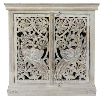 TEAK HAND CARVED PEACOCK 2 DOOR CONSOLE- WHITE