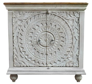 TEAK HAND CARVED 2 DOOR CONSOLE W/ NATURAL TOP - WHITE/ NATURAL