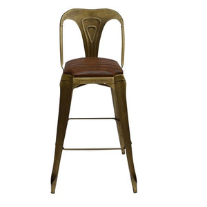 LEATHER/STEEL BARSTOOL - Luxe Living