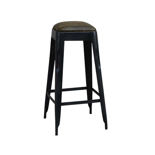 INDUSTRIAL LEATHER BARSTOOL