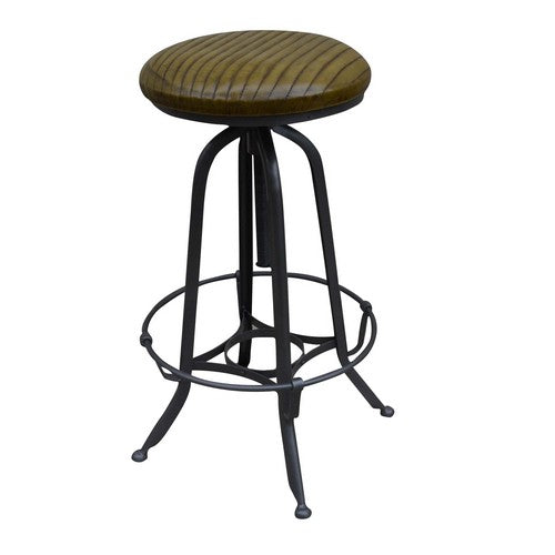 INDUSTRIAL LEATHER BARSTOOL - Luxe Living