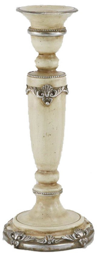 ANTIQUED CREAM CANDLE HOLDER