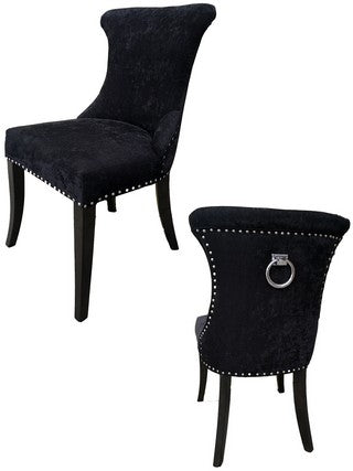 MIAMI DINING CHAIR BLACK CHENILLE FABRIC W/SS NAILS & RING