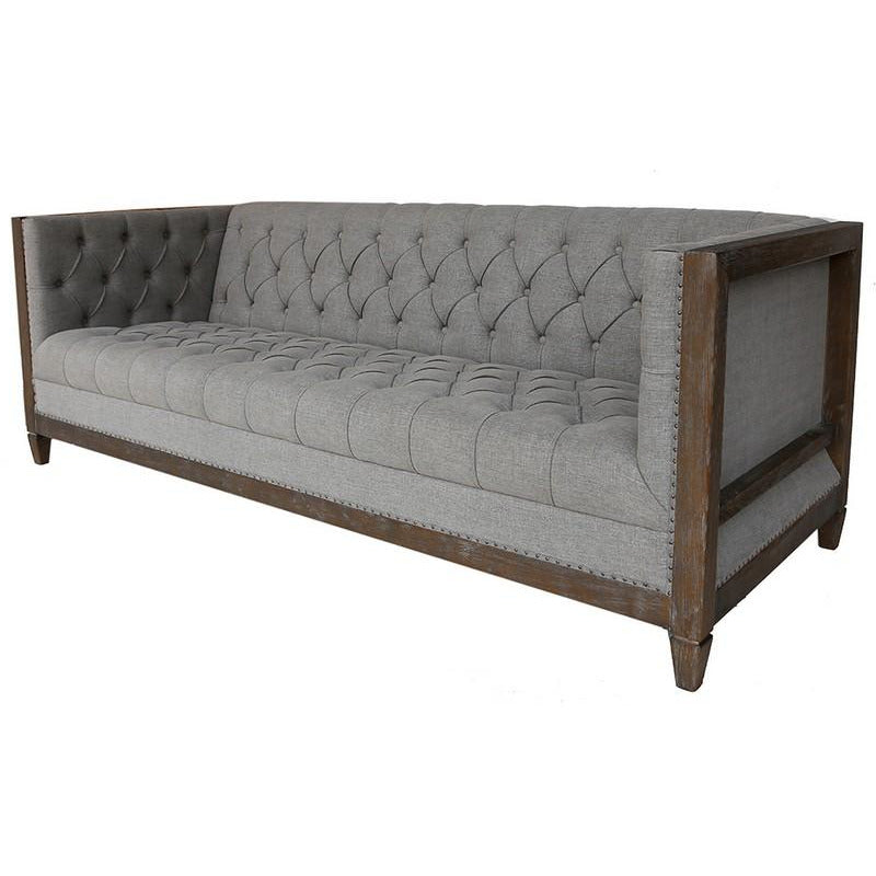 CHELMSWOOD SOFA GREY LINEN/OAK - Luxe Living