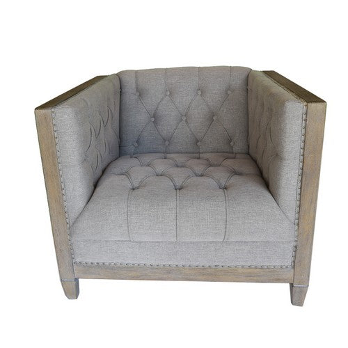 CHELMSWOOD CLUB CHAIR GREY LINEN/OAK - Luxe Living