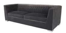 Load image into Gallery viewer, CAIRO VELVET SOFA W / PATTERN STITCHING - GREY VELVET