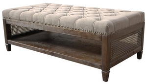 CHELMSWOOD OTTOMAN / COFFEE TABLE W / AMERICAN OAK FRAME & RATTAN