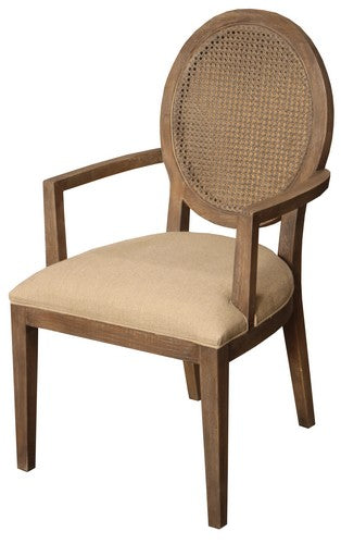 VALDEZ RATTAN BACK CARVER CHAIR W / AMERICAN OAK AND LINEN SEAT