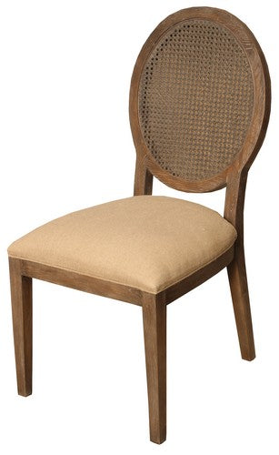VALDEZ RATTAN BACK DINING CHAIR W / AMERICAN OAK AND LINEN SEAT