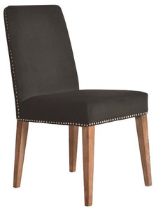 PASCAL DINING CHAIR - DARK GREY VELVET WITH ANTIQUE STUDS