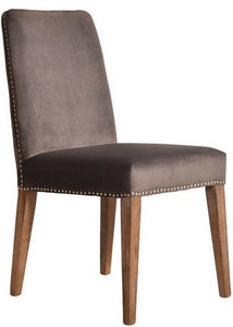 PASCAL DINING CHAIR - LIGHT GREY VELVET WITH ANTIQUE STUDS