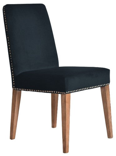 PASCAL DINING CHAIR - NAVY BLUE VELVET WITH ANTIQUE STUDS