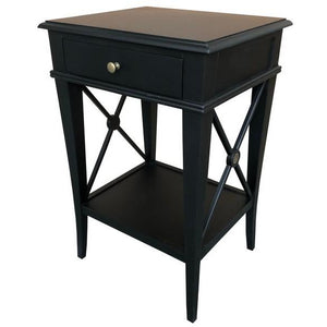 VILLA BEDSIDE TABLE - BLACK POPLAR - Luxe Living