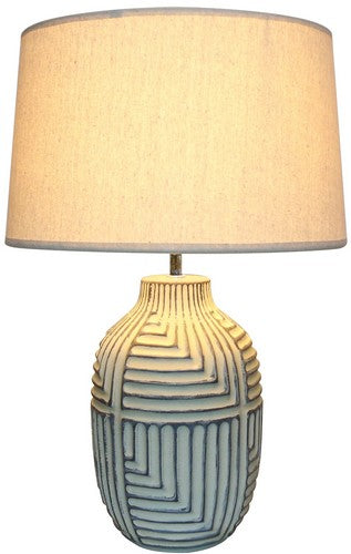 AZTEC LAMP WITH LINEN SHADE - CREAM