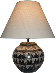 UNEARTHED LAMP WITH LINEN SHADE - BROWN