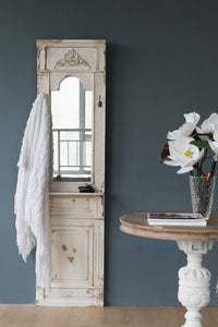 CLASSIC VINTAGE ANTIQUE WHITE WALL MIRROR
