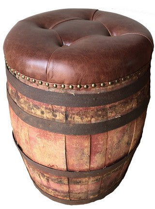 UPHOLSTERED LEATHER WINE CASK SEAT