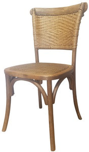 RATTAN WEAVE DINING CHAIR - ANTIQUE OAK