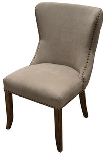 CHARLESTON BUTTONED BACK DINING CHAIR - GREY LINEN CHENILLE