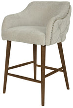 Load image into Gallery viewer, CHARLESTON BUTTONED BACK BARSTOOL - OAK LEGS