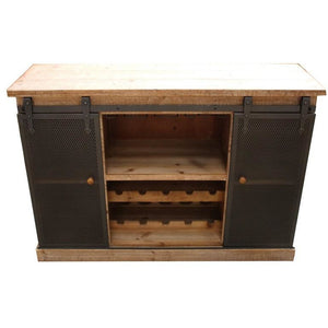 BUFFET WINE CABINET WITH METAL SLIDING DOORS - Luxe Living