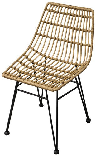 PE WICKER DINING CHAIR - NATURAL / BLACK
