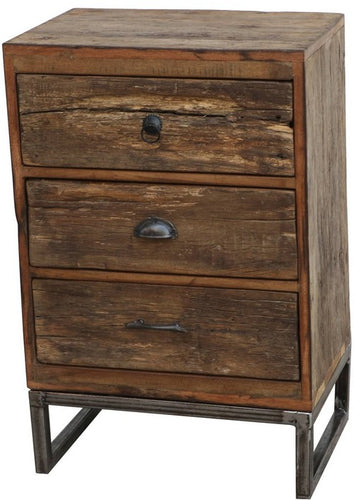 RECLAIMED WOODEN BEDSIDE TABLE