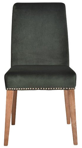 PASCAL DINING CHAIR - GREEN VELVET WITH ANTIQUE STUDS