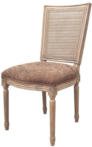 MARCEL DINING CHAIR - ANTIQUE OAK W/ JACQUARD FABRIC & RATTAN BACK